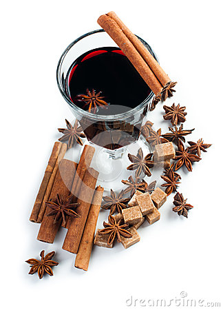 Mulled wine, isolated