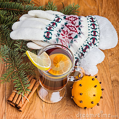 Mulled wine and knitted gloves