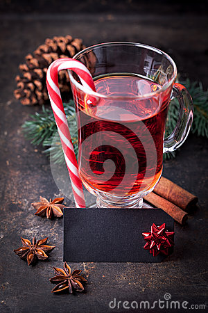 Mulled wine with label