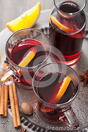 Mulled wine with orange and spices