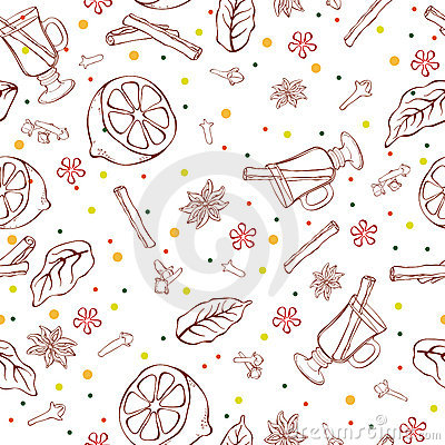 Mulled wine seamless pattern