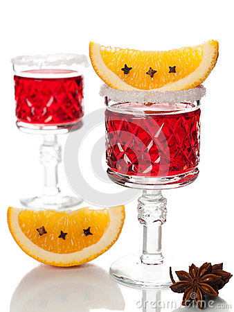 Mulled wine on a white background