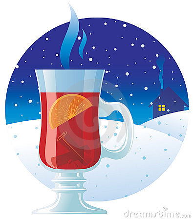 Mulled wine on the winter background