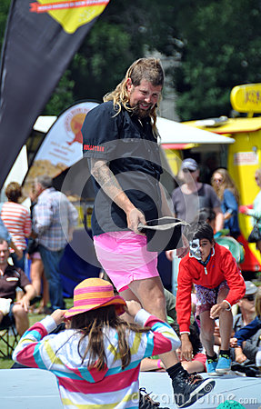 Mulletman Hands Round The hat at The  World Buskers Festival Editorial Photography