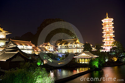 Mulong Lake Pagoda and Buildings, Guilin, China