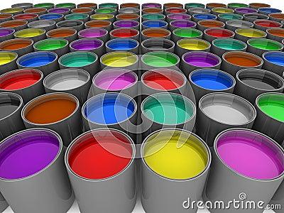 Multi color paint cans Cartoon Illustration