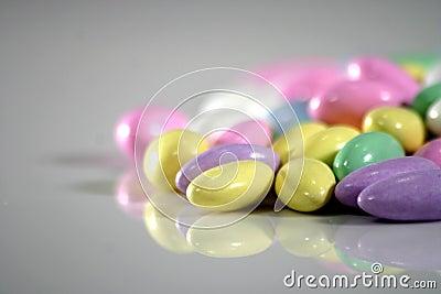 Multi colored almonds
