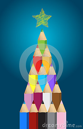 Multi colored art pencils in Christmas pine tree