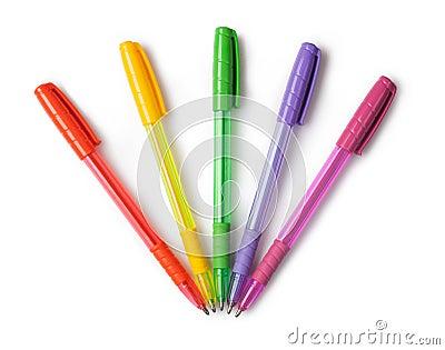 Multi-colored ball pens Stock Photo