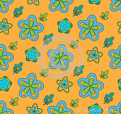 Multi Colored flowers, on a orange background