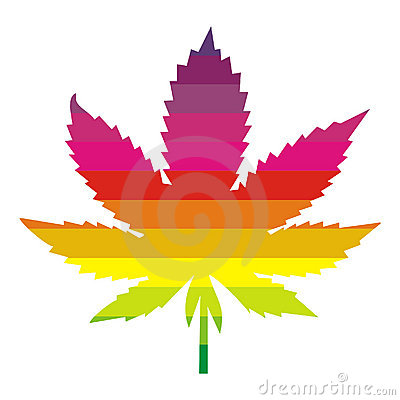 Multi colored marijuana leaf