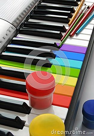 Multi-colored piano