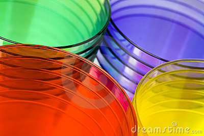 Multi-colored plastic cups