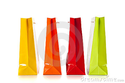 Multi colored shopping bags on a white background