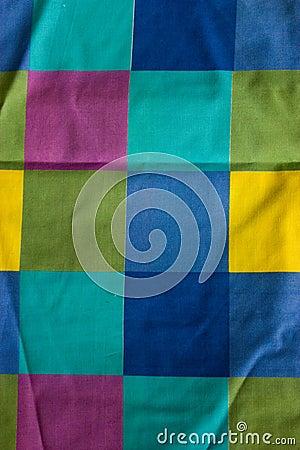 Multi-colored striped fabric.