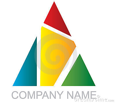 Multi-colored triangular logo