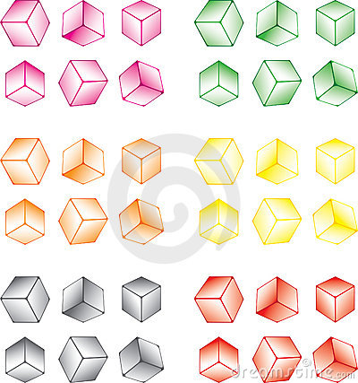 Multi-coloured cube set