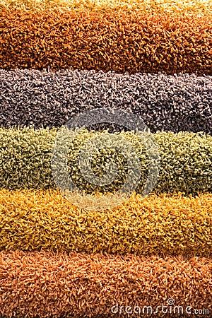 Multi-coloured fluffy carpets