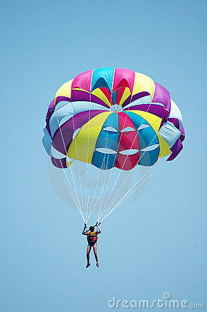 Multi coloured parachute