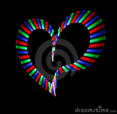 Multi-coloured shone heart on black