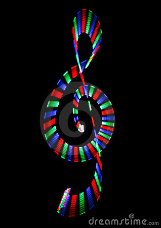 Multi-coloured shone treble clef on black