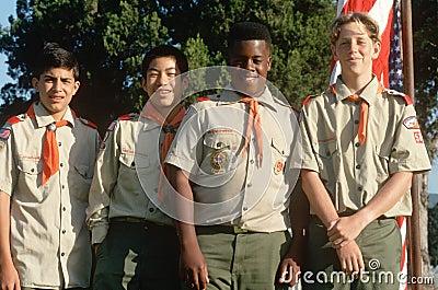 Multi-cultural Boy Scouts Editorial Stock Photo