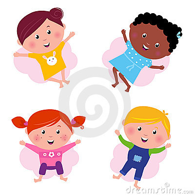 Multi cultural different jumping children -