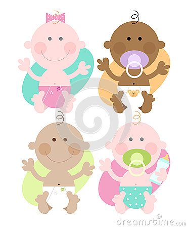 Four babies- Varied skin colours