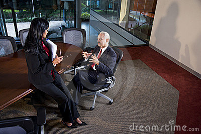 Multi-ethnic business executives having discussion