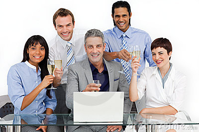 Multi-ethnic business team celebrating a success