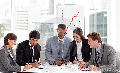 Multi-ethnic business team working together