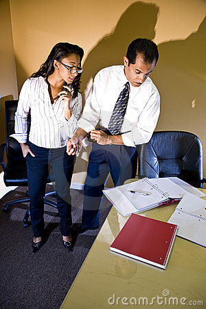 Multi-ethnic businessman and businesswoman working