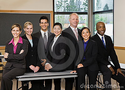 Multi-ethnic co-workers posing
