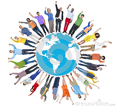 multi ethnic group of people arms raised and earth stock