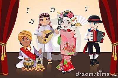 Multi-ethnic kids performing