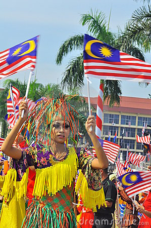 Multi ethnic Malaysia with the national flags Editorial Stock Photo