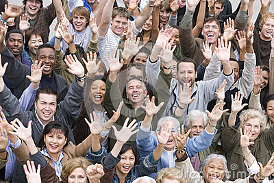 Multi Ethnic People Raising Hands Together