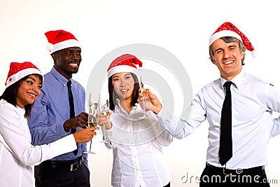 Multi-ethnic team celebrating christmas