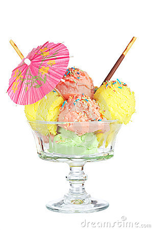 Multi flavor ice cream glass with umbrella