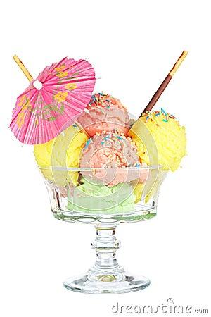 Multi flavor ice cream glass with umbrella
