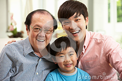 Multi Genenration Chinese Family Relaxing At Home