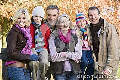 Multi-generation family on autumn walk