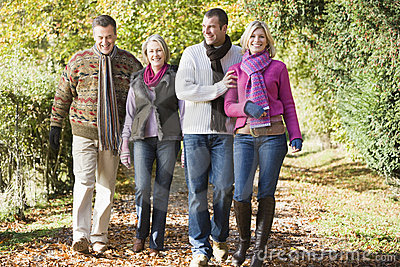 Multi-generation family enjoying autumn walk