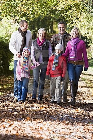 Free Multi-generation Family Walking Through Woods Stock Image - 5305241