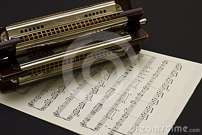 Multi key Harmonica on sheet music