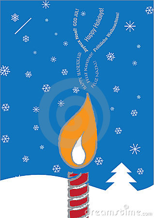 Multi-Lingual Candle holiday card
