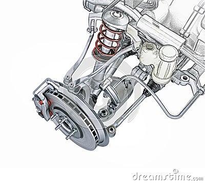 Multi link front car suspension, with brake.