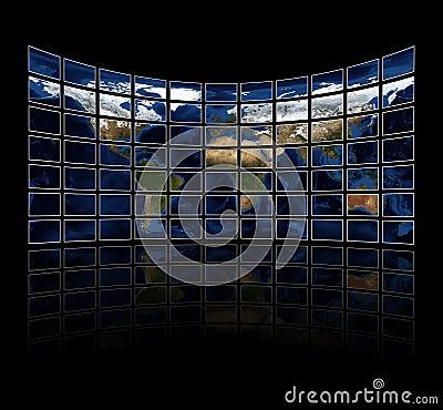 Multi media screens displaying the atlas