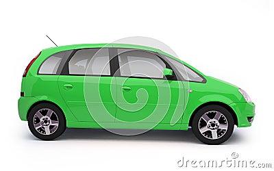 Multi-purpose green car side view