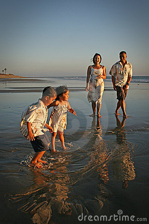 Multi-racial Family on Beach